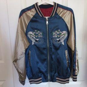 Metallic Embroidered Bomber Jacket